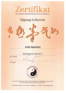Auch in diesem Jahr wurde ich wieder vom Taijiquan & Qigong Netzwerk Deutschland e.V. zertifiziert